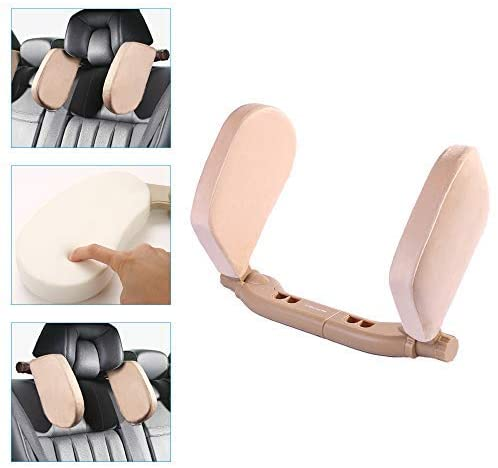 Car Side Headrest Pillow For Chrysler Grand Voager PT Cruiser Sebring Pacifica Town and Country New Yorker 200 300 Head Neck Support Detachable Travel Sleeping Protection Headrest Flannel Beige