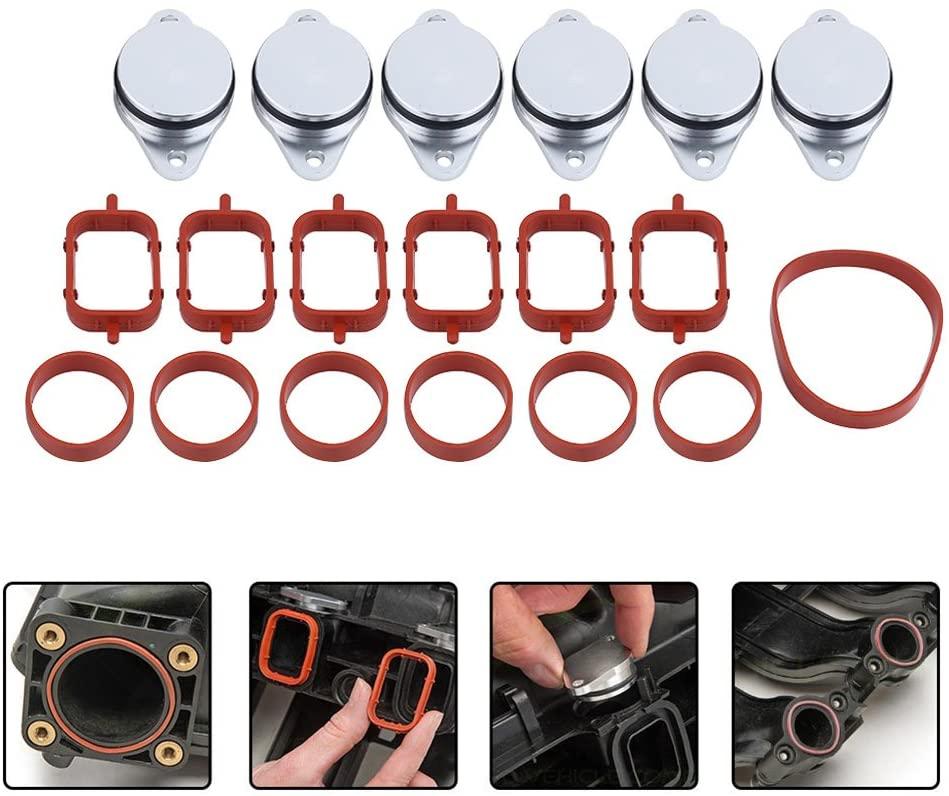 Car Swirl Flap Gaskets, 6x 33mm Diesel Swirl Flap Blanks Bungs Intake Gaskets Kit for 320d 330d 520d 525d 530d 730d