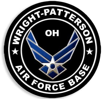 American Vinyl Round Wright Patterson Air Force Base Sticker (Ohio oh USAF AFB)