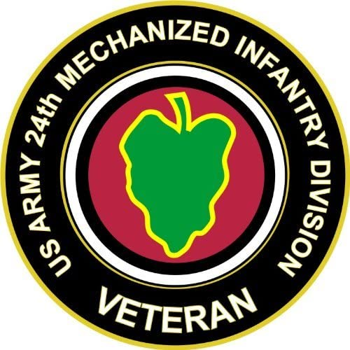 Six Pack of 3.8 US Army 24th Mechanized Infantry Division Veteran Decal Sticker