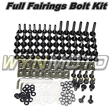 WYNMOTO US Stock Yamaha R6 YZF600 R6 1998 1999 2000 2001 2002 Full Motorcycle Fairings Aluminum Fasteners Bolt Kit Body Screws Hardware Clips (Black)
