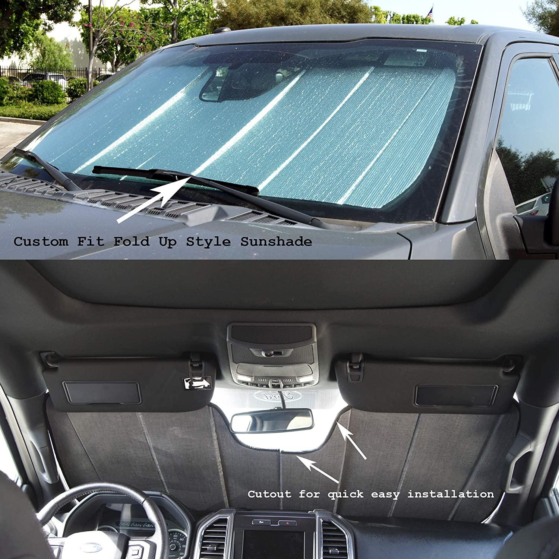 TuningPros CFS-050-S Custom Fit Fold Up Thermal Shade Car Windshield Protector, Sunshade Visor Sun Shade in Silver & Grey 1-pc Set Compatible With 2015-2020 Cadillac Escalade