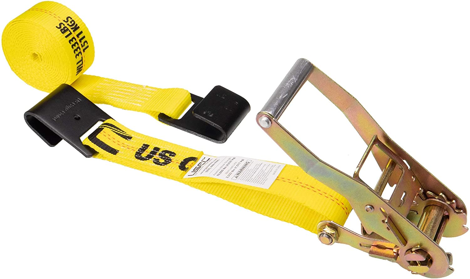 US Cargo Control 2 Inch x 18 Foot Yellow Ratchet Strap with Black Flat Hooks