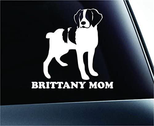 American Brittany Mom Dog Symbol Decal Funny Car Truck Sticker Window (White), Decal Sticker Vinyl Car Home Truck Window Laptop