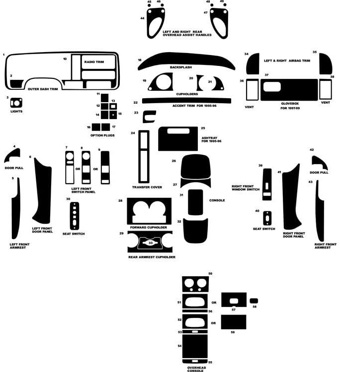 Rvinyl Rdash Dash Kit Decal Trim for Chevrolet Pick Up 1995-1999 (Full Size) - Wood Grain (Walnut)