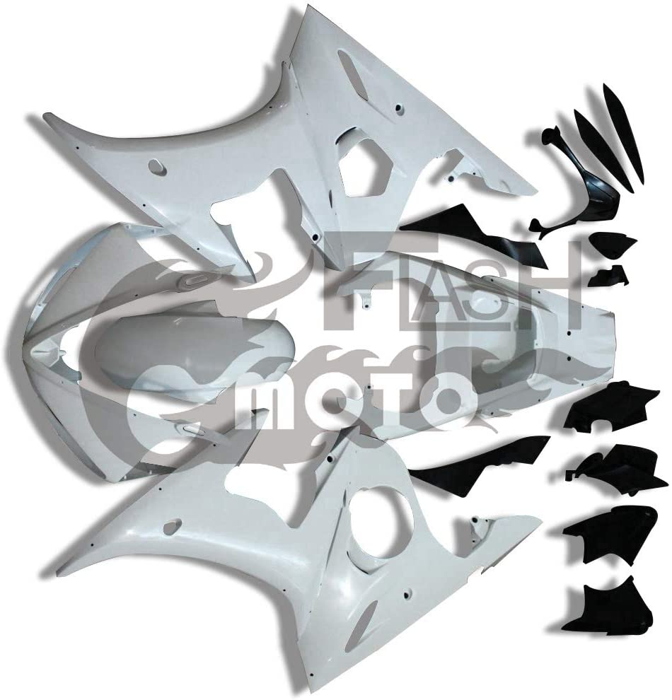 FlashMoto Fairings for Yamaha YZF-600 R6 2003 2004 Unpainted Motorcycle Injection ABS Plastic Bodywork Fairing Kit Set Unpainted
