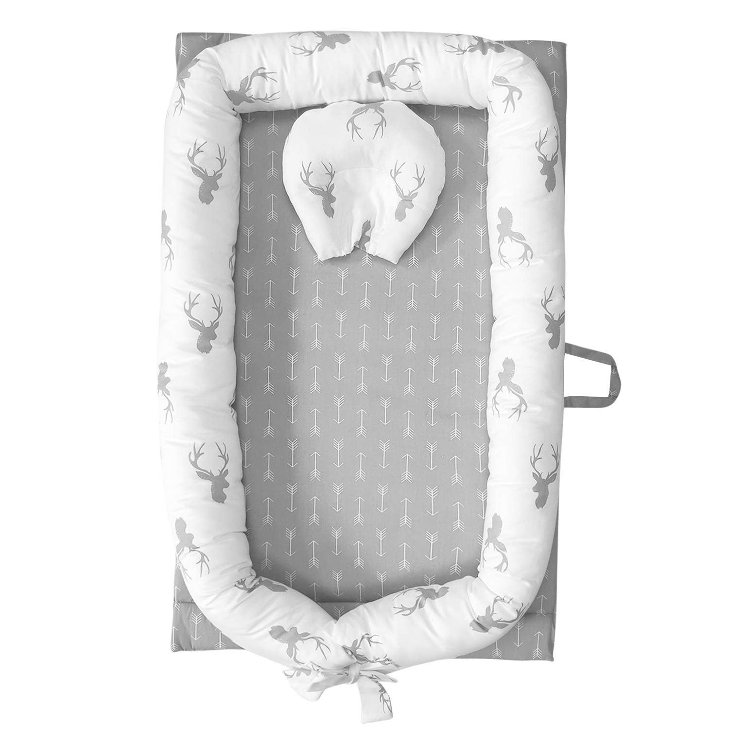 Abreeze Baby Bassinet for Bed -Christmas Elk Baby Lounger - Breathable & Hypoallergenic Co-Sleeping Baby Bed - 100% Cotton Portable Crib for Bedroom/Travel 0-24 Months