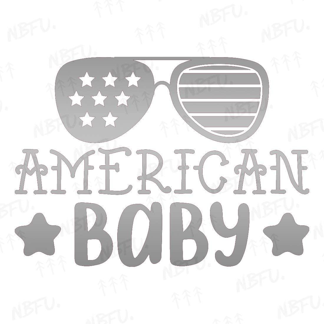 NBFU Decals American Baby Glasses Star 1 (Metallic Silver) (Set of 2) Premium Waterproof Vinyl Decal Stickers for Laptop Phone Accessory Helmet Car Window Bumper Mug Tuber Cup Door Wall Decoration