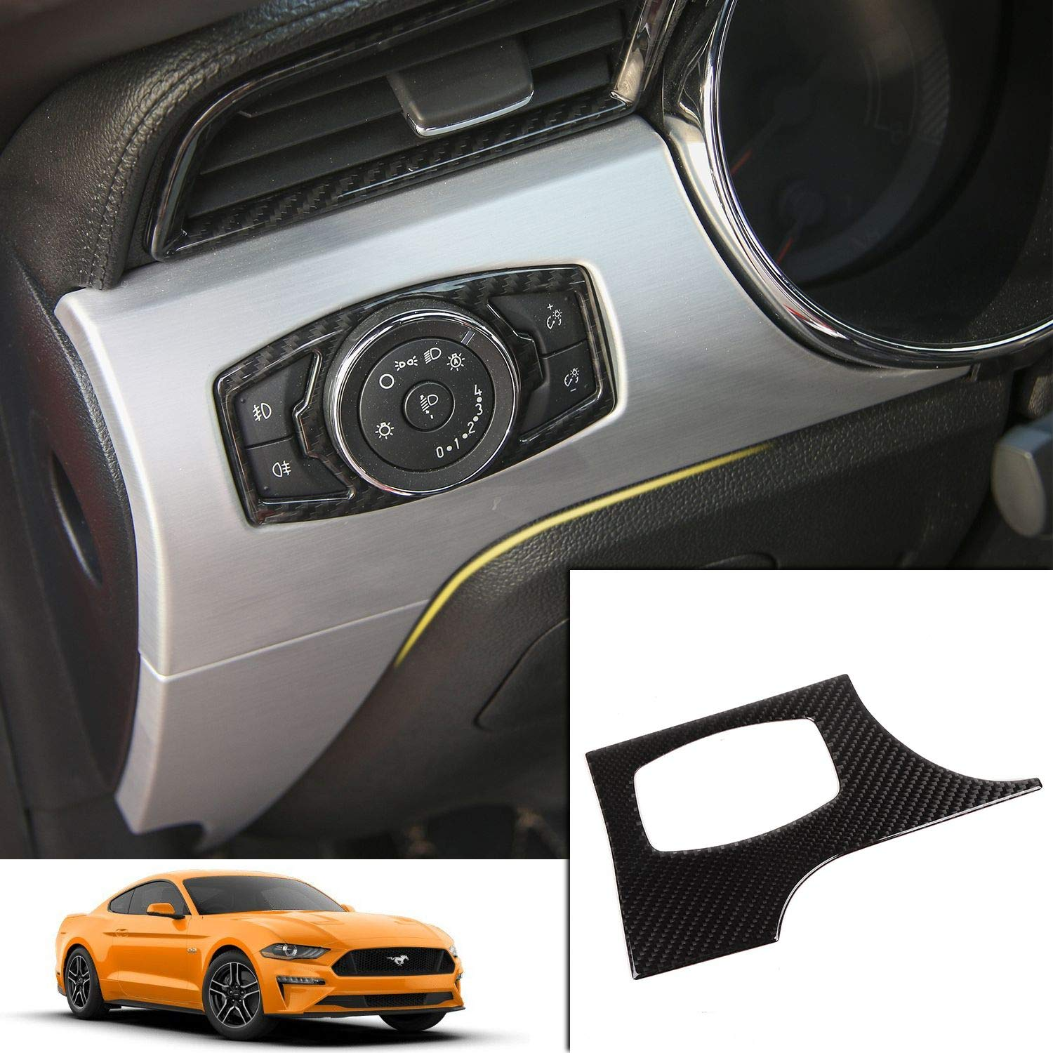 Car Headlight Switch Button Cover Trim Panel Decoration Frame for Ford Mustang 2015 2016 2017 (Carbon Fiber)