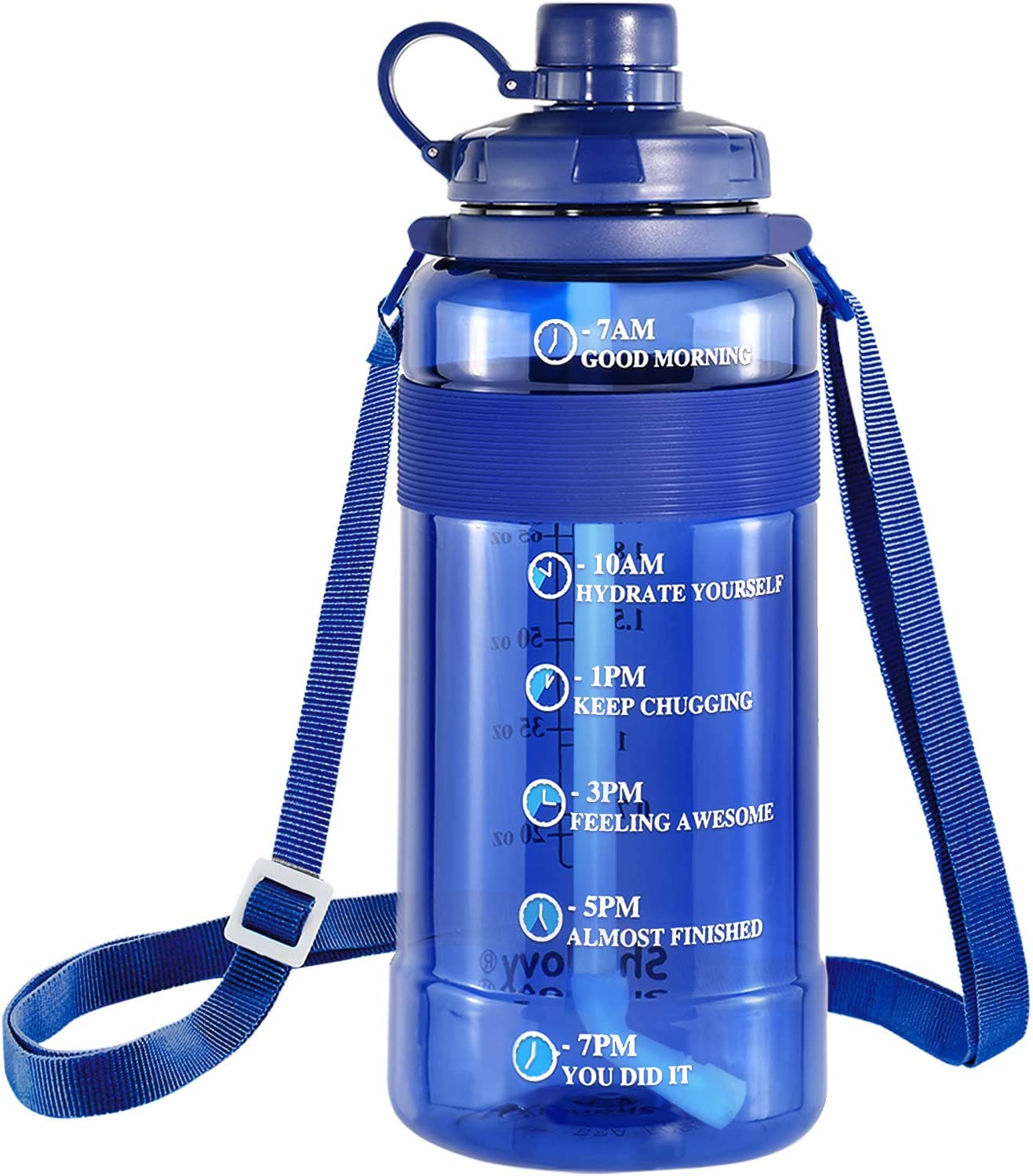 Large Water Bottle with Straw BPA Free, Sports Water Bottle with Strap Portable Motivational Water Bottle with Time Marker Water Bottle Leak Proof Gallon Water Jug Wide Mouth (100oz, Blue)