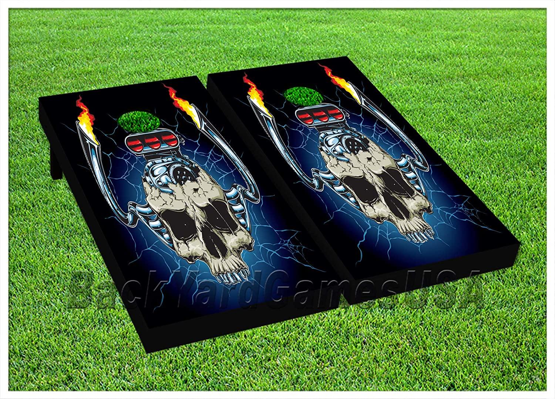 BackYardGames Vinyl Wraps Cornhole Boards Decals Muscle Skull Car BagToss Game Stickers 573