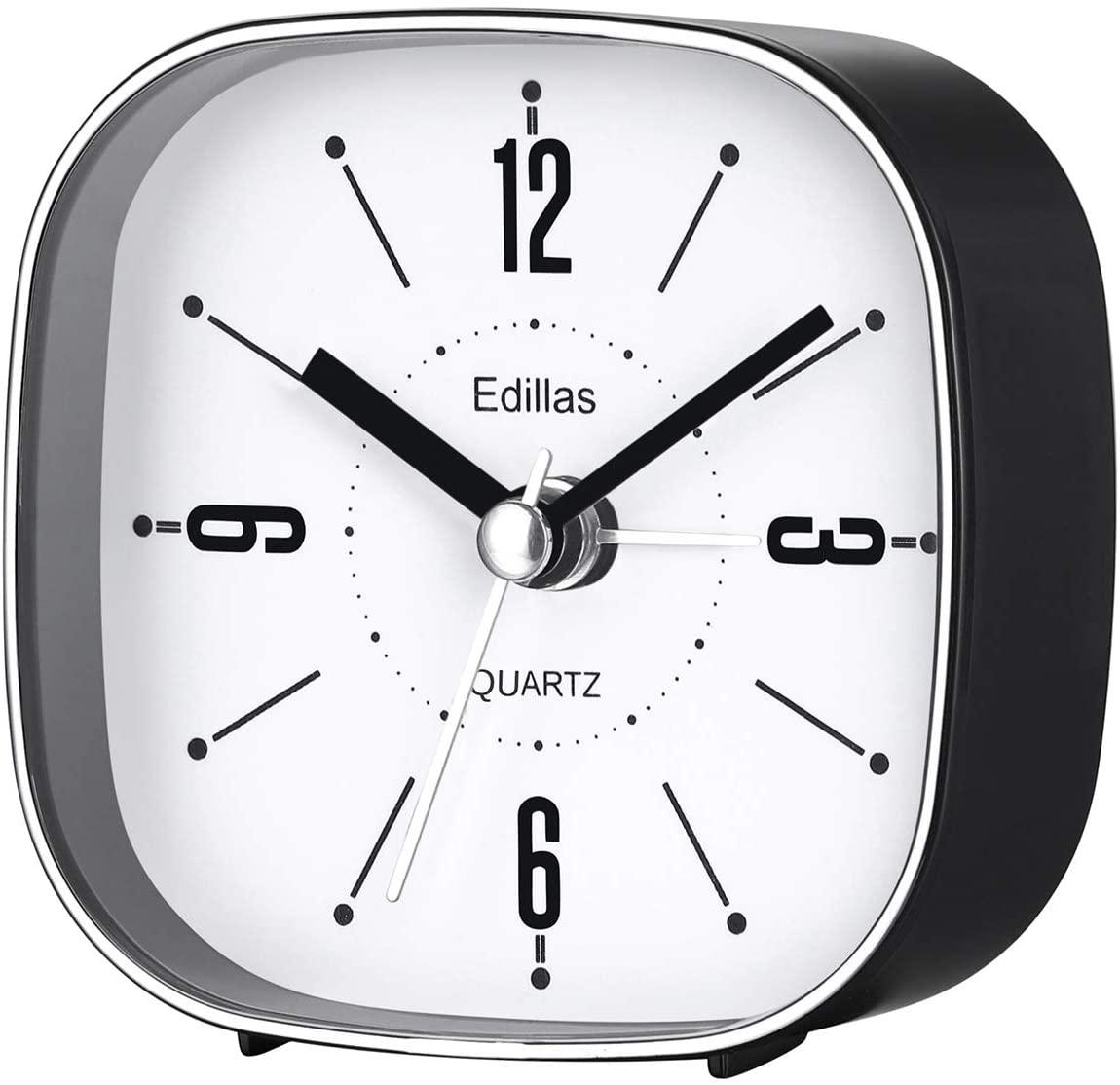 Edillas Small Analog Alarm Clocks,3 Inch Simple Stylish Portable Travel Alarm Clock Silent Battery Operated Non Ticking Alarm Clock for Table Desk Bedrooms (Black)