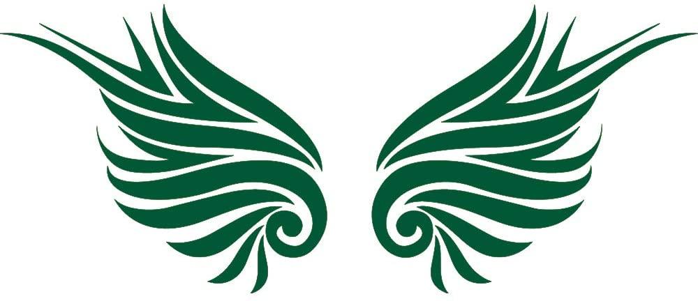 NBFU DECALS Guardian Angel Wings Lovely Reflective Tribal 2 (Green) (Set of 2) Premium Waterproof Vinyl Decal Stickers for Laptop Phone Accessory Helmet Car Window Bumper Mug Tuber Cup Door Wall