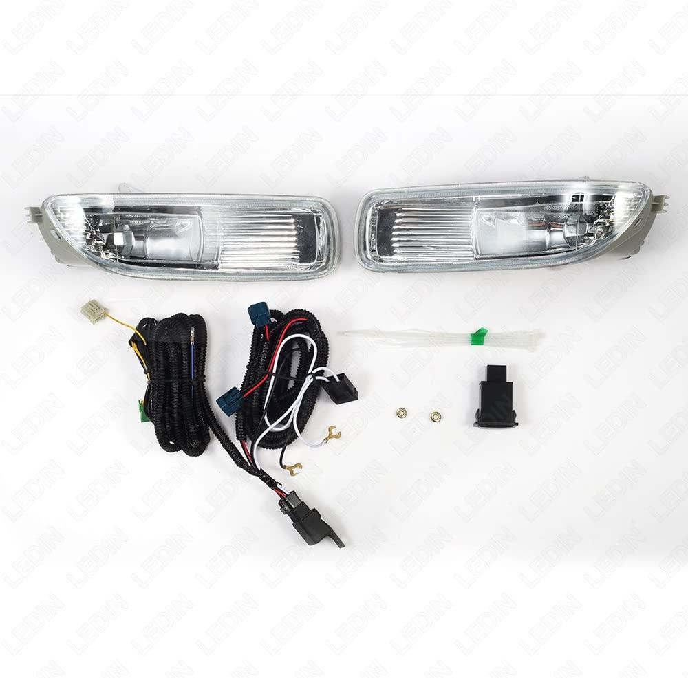 LEDIN Fog Lights fit 2003 2004 Toyota Corolla (OE Style Clear Lens with Switch, Bulbs)
