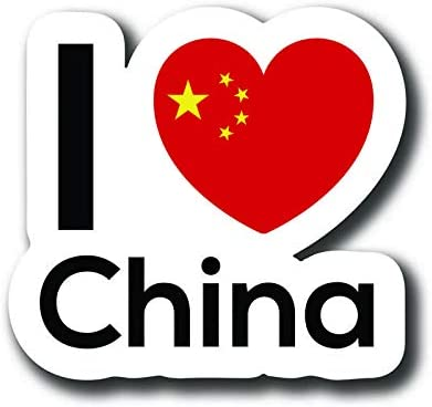 Love China Flag Decal Sticker Home Pride Travel Car Truck Van Bumper Window Laptop Cup Wall - One 5 Inch Decal - MKS0131