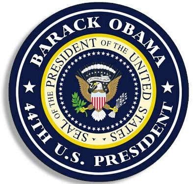 JR Studio 4x4 inch Round Barack Obama 44th US President Sticker - Seal Political us Logo Vinyl Decal Sticker Car Waterproof Car Decal Bumper Sticker