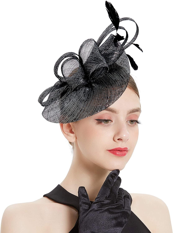 BABEYOND Women's Pillbox Fascinator Hat Kentucky Derby Hat Feather Fascinator Headband Tea Party Fascinator Hat for Cocktail