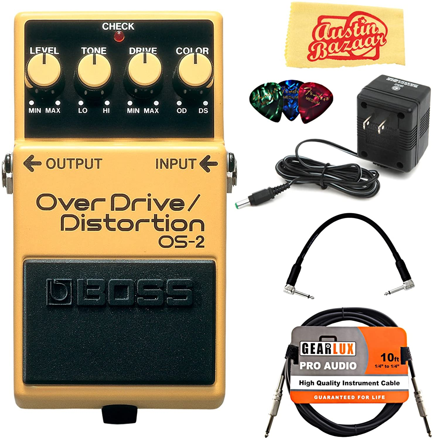 Boss OS-2 OverDrive/Distortion Bundle with Power Supply, Instrument Cable, Patch Cable, Picks, and Austin Bazaar Polishing Cloth