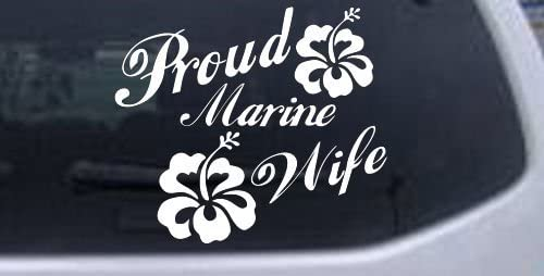White-Proud Marine Wife Hibiscus Flowers Military Decal Sticker - Die Cut Decal Bumper Sticker for Windows, Cars, Trucks, Laptops, Etc.