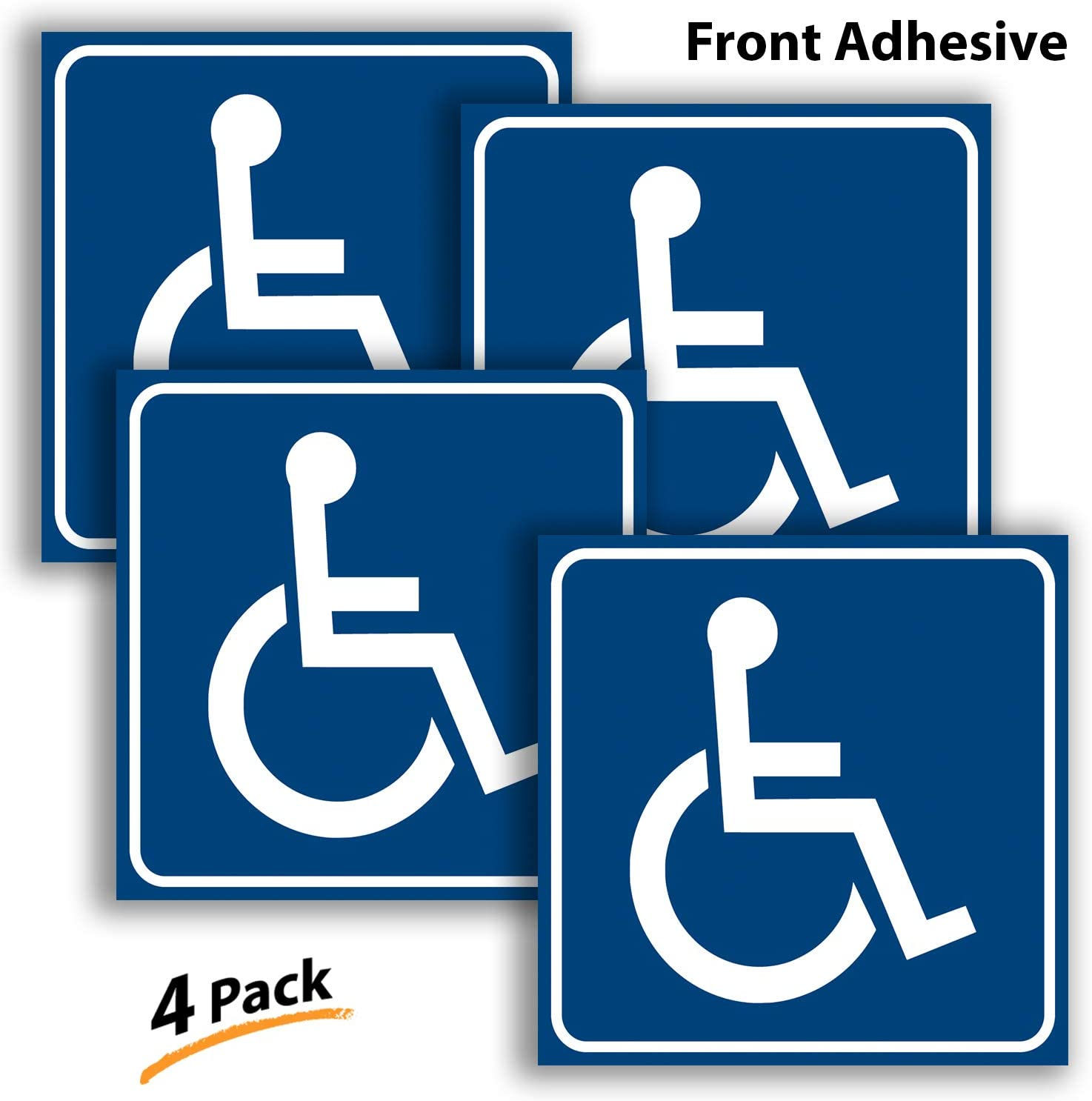 Handicap Signs Stickers Decal Symbol - 4 Pack 6x6 inch - ADA Compliant - Premium Front Adhesive Vinyl for Applying Inside The Window or Glass Door, Disabled Wheelchair Sign, Disability Sticker.
