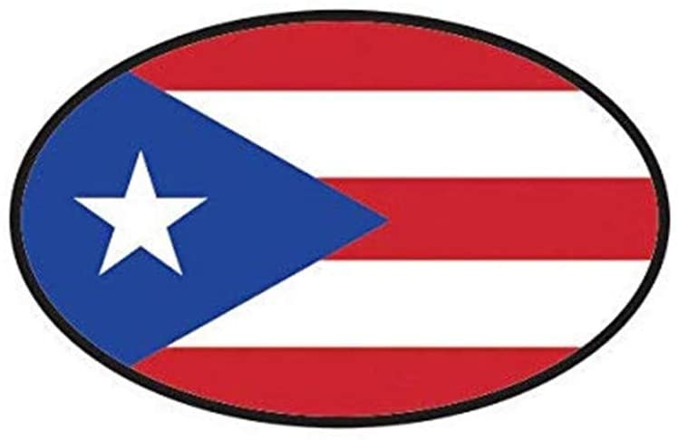 Puerto Rico Oval Puerto Rican Country Code Euro PR V7 Printed Decal Sticker - 5
