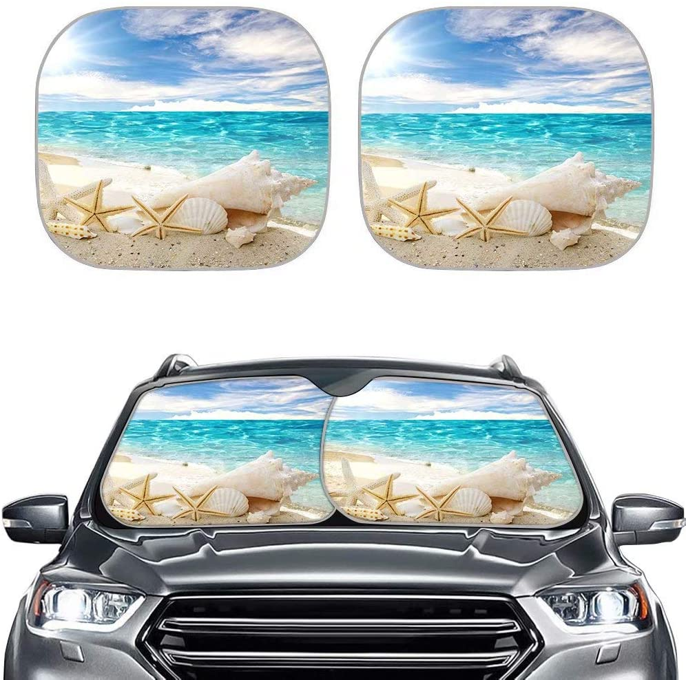 Forchrinse Ocean Beach Seashells with Starfish 2-Piece Windshield Sunshade Block Sun,Heat,Glare,Foldable Front Window Shade Fit for Most of Car Truck SUV Van