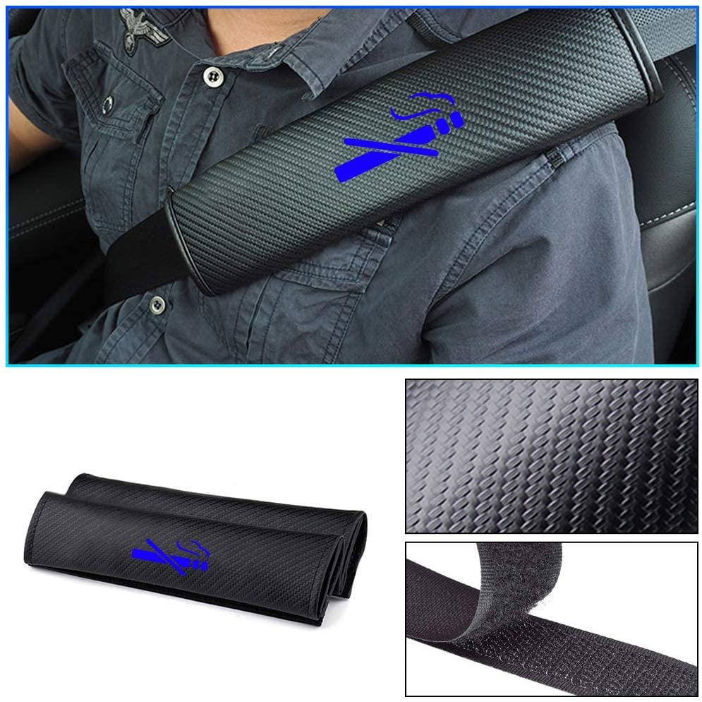 Carado Car Seat Belt Pad Cover for Cadillac CT6 Seat Belt Shoulder Pads Carbon Fiber Cushion Strap Covers No Smoking Blue 2Pcs