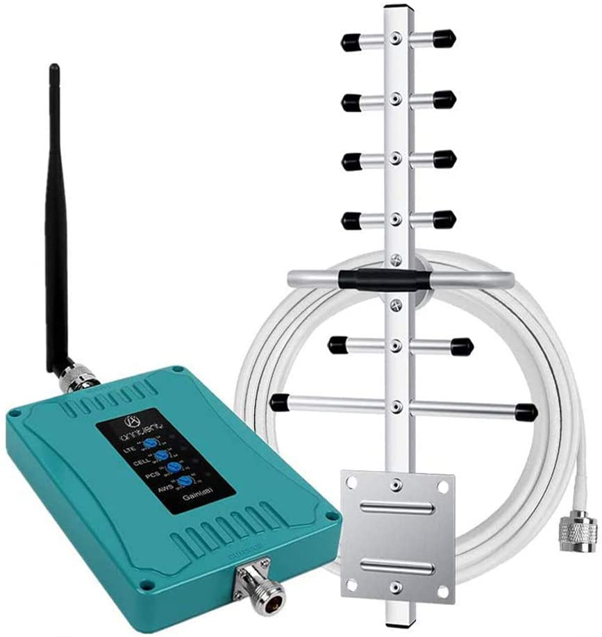 5-Band Cell Phone Signal Booster Repeater for Home and Office - Boosts GSM 3G 4G LTE Voice and Data for All Carriers - Supports Verizon AT&T T-Mobile Sprint - FCC Approved & Easy Setup