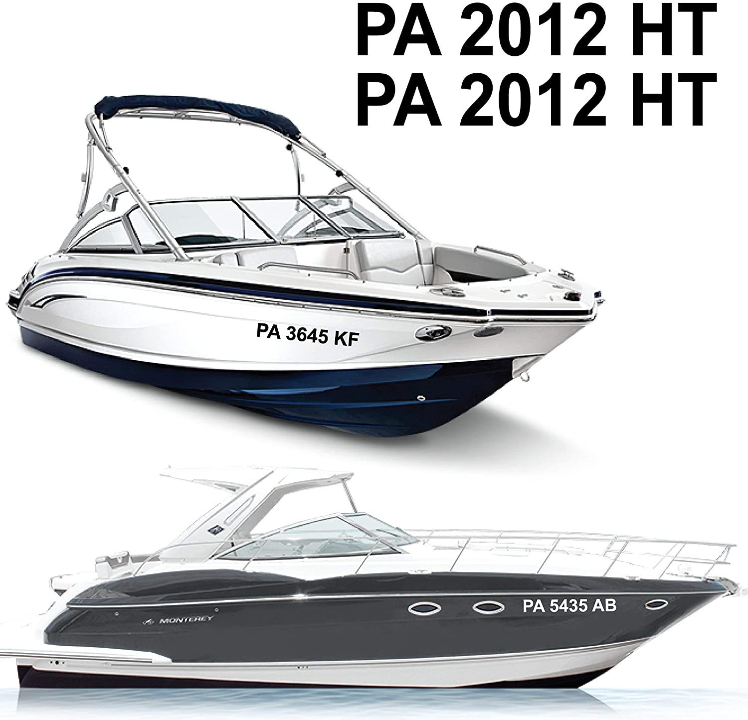 1060 Graphics Reflective Boat Registration Numbers - Custom Made To Order In Any Text, Font, Color, Size (4