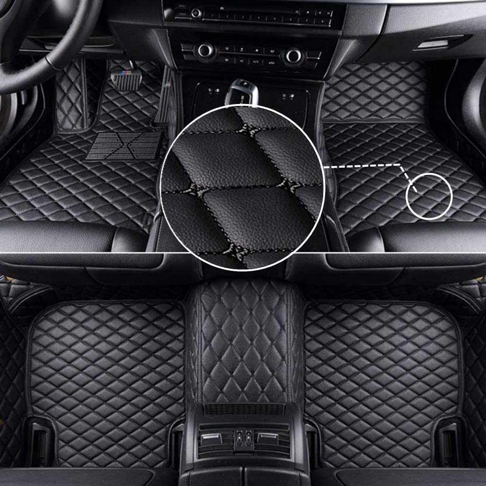 MyGone Car Floor Mats for Audi A3 1999-2003 2000 2001 2002, Leather Floor Liners - Custom Fit Waterproof Comfort Soft, Front Rear Row Full Set Black with Black Stitch