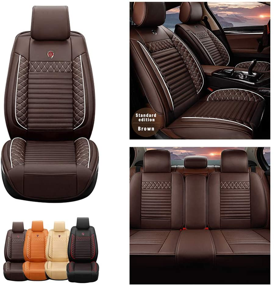 Jiahe Car Seat Covers for Chrysler 300(not fit 300 SRT8) 5seat Full Set Seat Protector Artificial Leather,Front & Rear Set Universal Coffee
