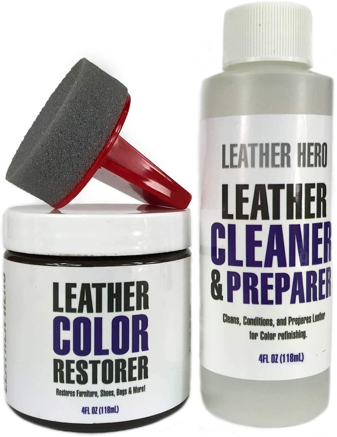 Leather Hero Leather Color Restorer Repair Kit- Refinish, Recolor, Renew Leather & Vinyl Sofa, Purse, Shoes, Auto Car Seats, Couch 4oz (Medium Brown)