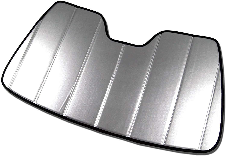 TuningPros SS-126-L Custom Fit Car Windshield Sun Shade Protector, Sunshade Visor Leatherette Like & Grey Felt Finish 1-pc Set Compatible With 2013-2017 Honda Accord Coupe 2 Door