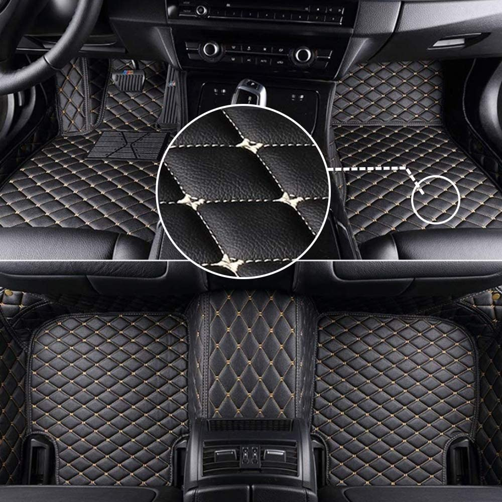 MyGone Car Floor Mats for Porsche Cayenne 2006-2010, Leather Floor Liners - Custom Fit Waterproof Comfort Soft, Front Rear Row Full Set Black with Gold