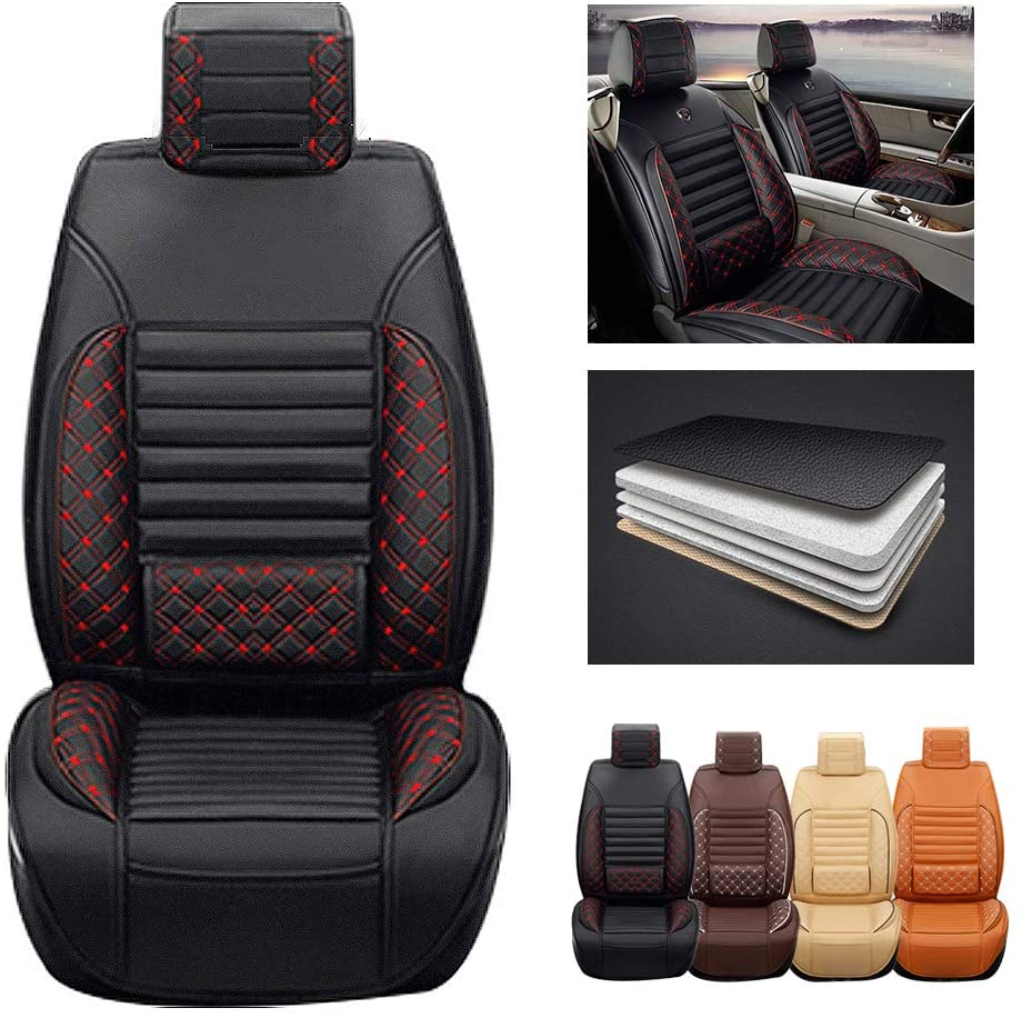 ytbmhhuoupx for Honda CR-V 2007-2019 5-Seats Car Seat Covers PU Leather Waterproof Seats Cushion fit All Season - Front Row Standard Edition Black red