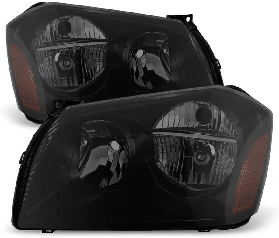 ACANII - For Black Smoke 2005-2007 Dodge Magnum SE SRT SXT RT Headlights Headlamps Driver + Passenger Side