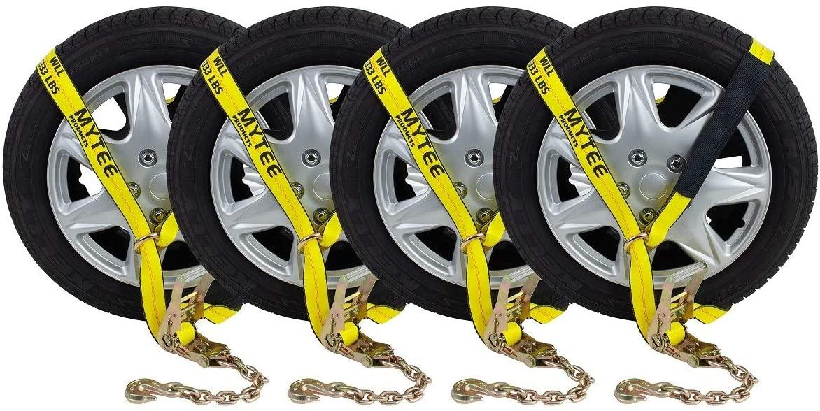 (4 Pack) Auto Hauler Car Flatbed Tie Down Kit Lasso Wheel Ratchet Straps w/Chain
