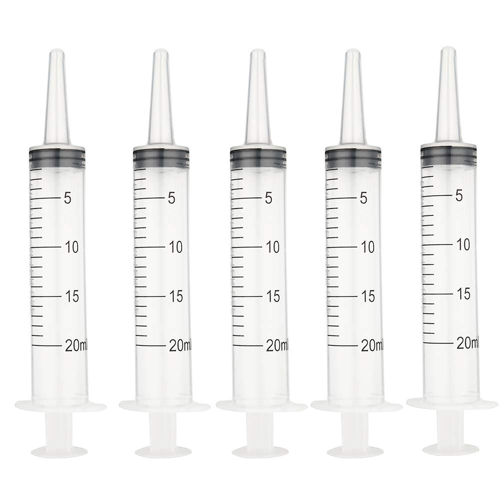 Large Plastic Syringe, 5 Pack 20 ml Multiple Uses Injectors Tools, No Needle, for Dispensing Measuring and Refilling Liquids, Feeding Pets, for Scientific Labs (20ml)