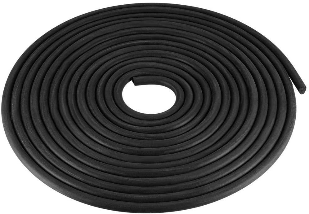 uxcell Foam Rubber Seal Weather Strip 6mm Diameter 5 Meters Long Black