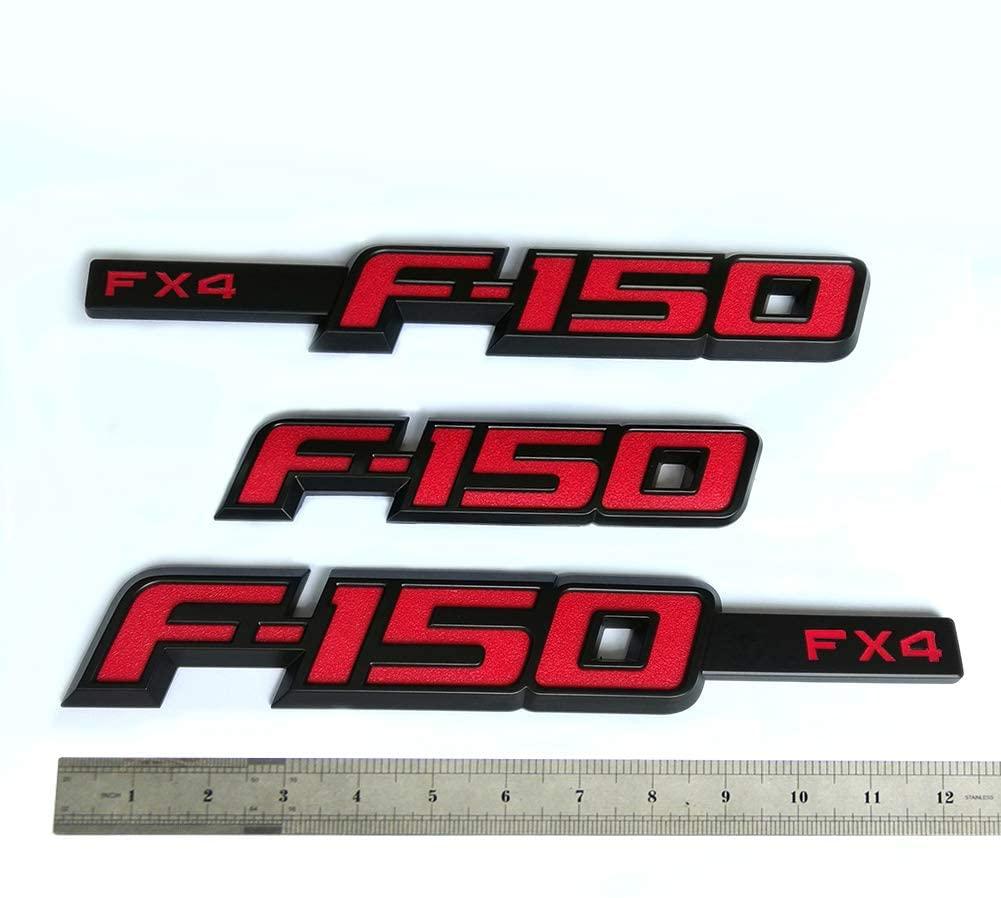 3pcs OEM F-150 Fx4 Emblem Fender F-150 Rear Tailgate Badge 3D Nameplate Replacement for F150 Origianl Size Genuine Parts Black Red