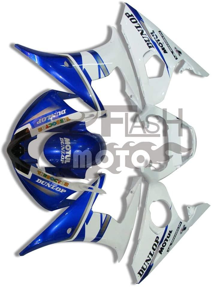 FlashMoto Fairings for Yamaha YZF-600 R6 2003 2004 Painted Motorcycle Injection ABS Plastic Bodywork Fairing Kit Set Blue, White