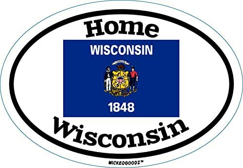 WickedGoodz Oval Wisconsin Home Vinyl Decal - State Flag Bumper Sticker - Perfect Vacation Gift