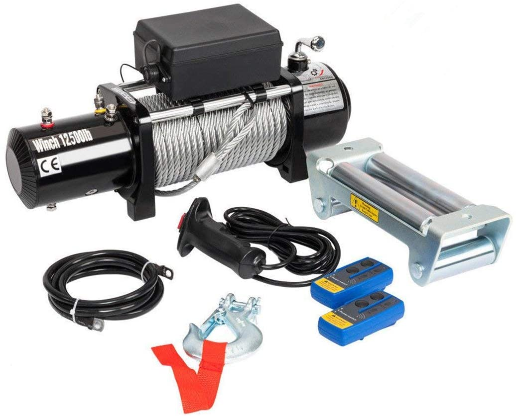 Electric Recovery Winch 12500lbs 12V Fit for Truck SUV Car with Wireless Remote Control Kit