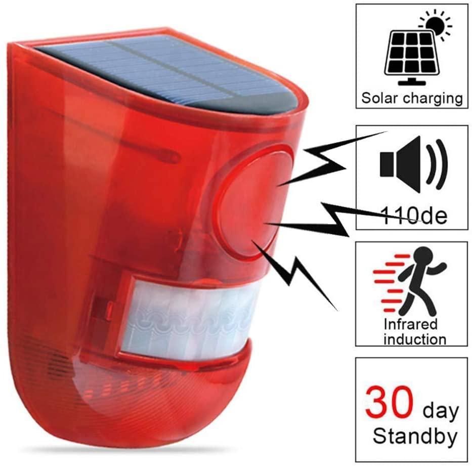 KEEDA Solar Motion Sensor Alarm, Wireless Waterproof Detector for Garden Home Villa Security Outdoor Door Sensor with Solar Blinking Light, 110dB Sound Security Alerts, Yard Day Mode + Night Mode
