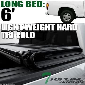 Topline Autopart Lightweight Tri Fold Hard Vinyl Truck Bed Tonneau Cover For 04-12 Chevy Colorado/GMC Canyon Regular (Standard) / Extended Cab 6 Feet (72