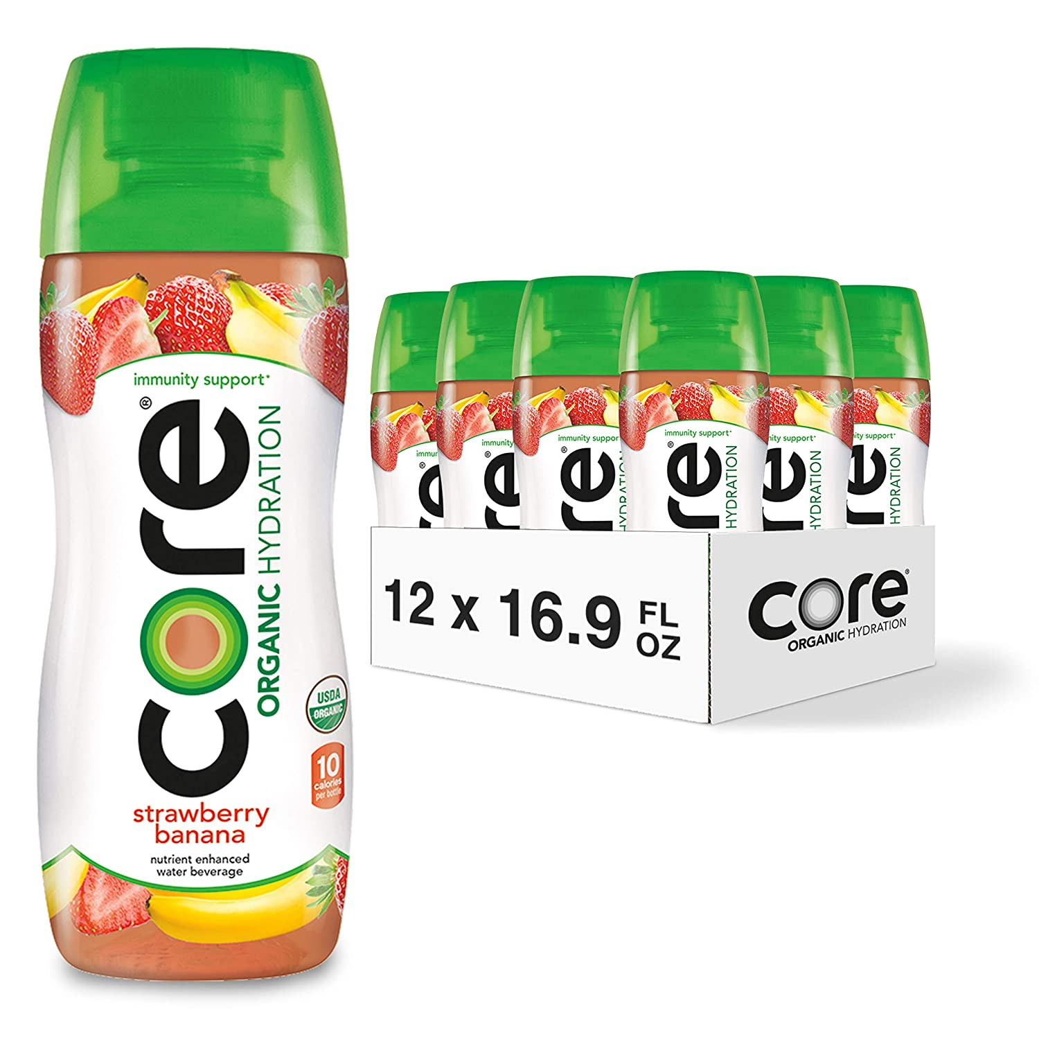 Core Organic Hydration, Strawberry Banana, 16.9 Fl Oz (Pack of 12), Nutrient Enhanced Flavored Water with Immunity Support from Zinc, USDA Certified Organic