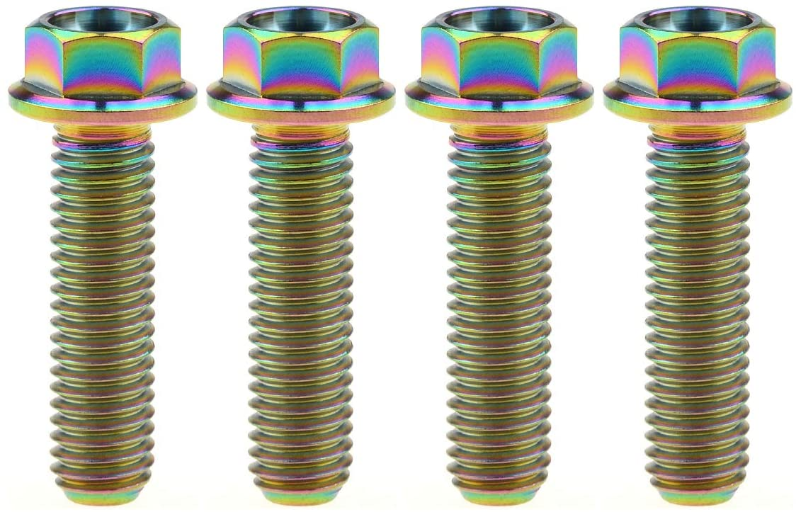 Wanyifa Titanium Hex Small Flange Head Bolt M8 15 20 25 30 35 40 45 50 55 60 65mm x1.25mm Pack of 4 (M8x30mm, Rainbow)