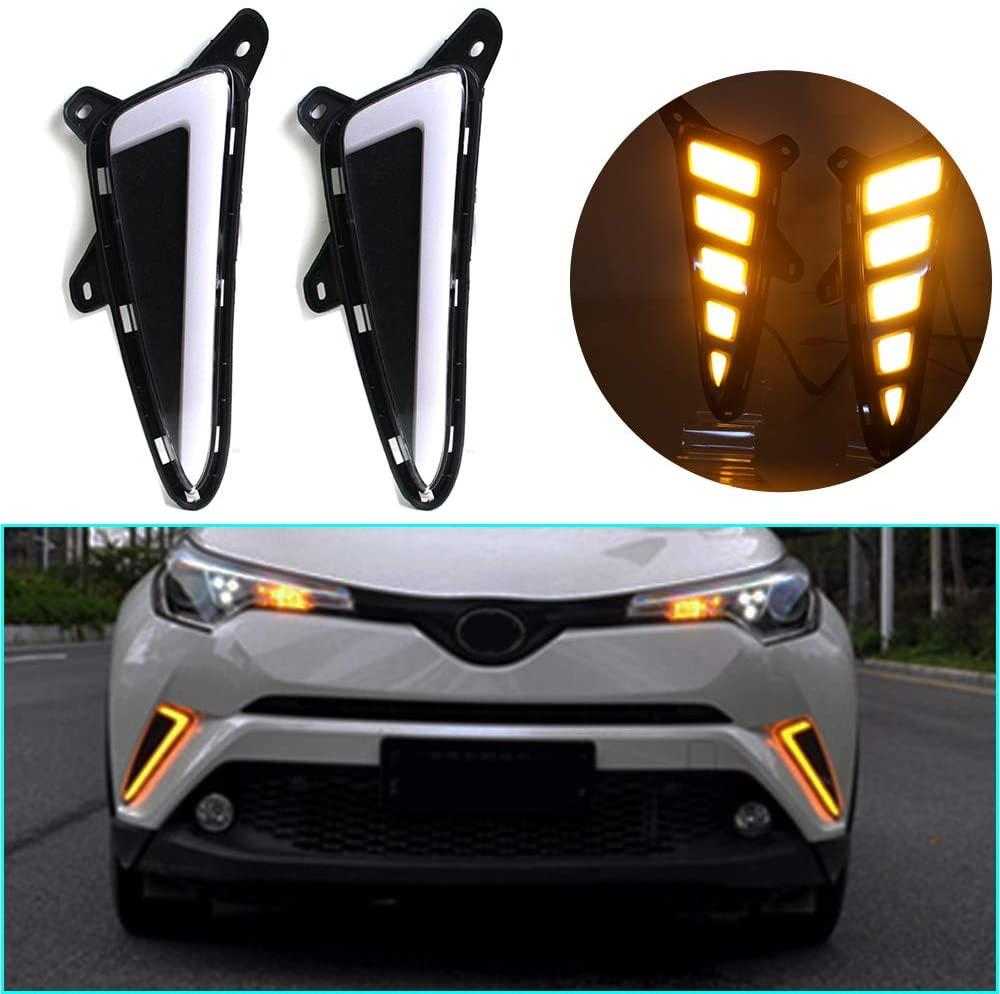 LED DRL Light Dual color for Toyota C-HR 2018-2019 Fog Lamp Decorative Automotive Lights Exterior Accessories Model B 1 pair