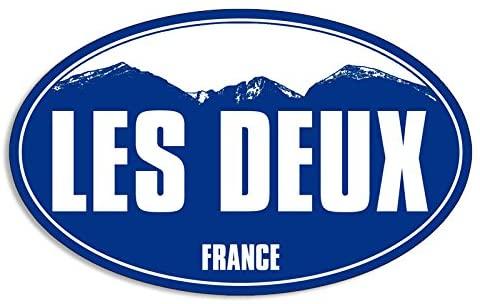 American Vinyl Blue Mountain Oval LES Deux Sticker (Snow ski Skiing Resort)