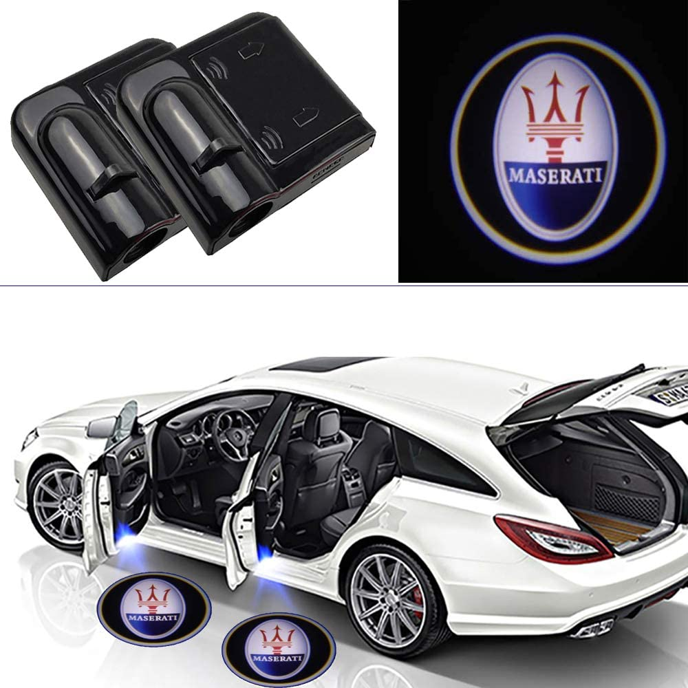 2 Pieces Car Door Lights Logo Projector fit Maserati,Wireless Car Door Paste Projector Logo Lights Led Logo Projector Lights Shadow Ghost Light Welcome Courtesy Lights(for Maserati)